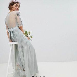 ASOS Maya Petite Embellished Tulle Sleeved Dress